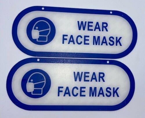 """2-Pack Oval Self-Stick Sign WEAR FACE MASK 4"""" x 10"""" Blue on White NEW Free Ship"""