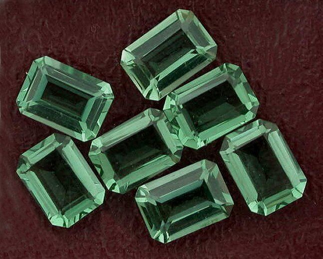 Two 7x5 Emerald Cut  Green Quartz Gem Stone Gemstone
