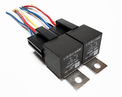 2 Pair 12 Volt Premium Spdt Relays Sockets Car Alarm 40 Amp 40a 12v Automotive