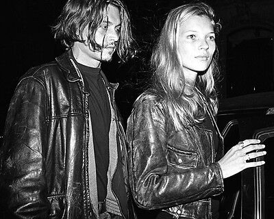 Johnny Depp and Kate Moss Leather BW 10x8 Photo