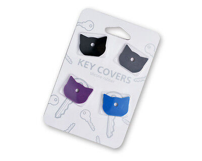 Silicone Cat Key Covers 4 Pack Kitty Keyring Cap Black Purple Blue Grey