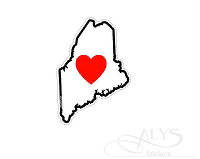 I Love Maine State Map Decals & Stickers