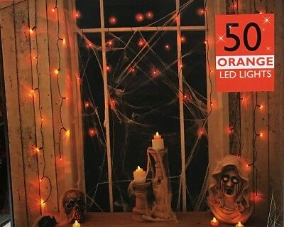 NEW 50 ORANGE HALLOWEEN SPOOKY LED LIGHTS CURTAIN LIGHT WINDOW FUNKY DECORATION (Best Halloween Indoor Decorations)