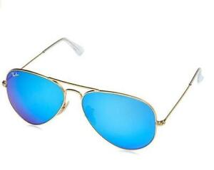 NEW Ray Ban RB3025 004/78 Aviator Metal Sunglasses Condtion: New, Crystal Green Mirror Multi Blue, MATTE GOLD