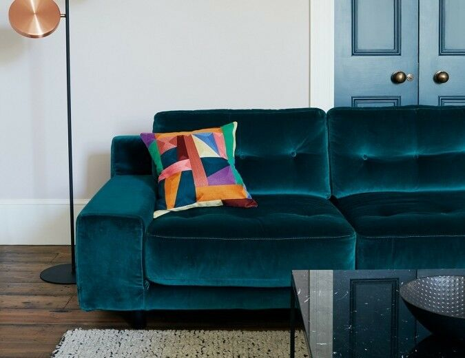 Habitat Hendrick Velvet Sofa Emerald Green Great Condition Heals Made West Elm Ikea House Clearance