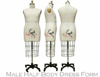 Professional Male Half Body Dress Form Arm Included - Size 36