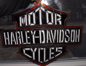 Hand made, one of a kind Harley Davidson stained glass