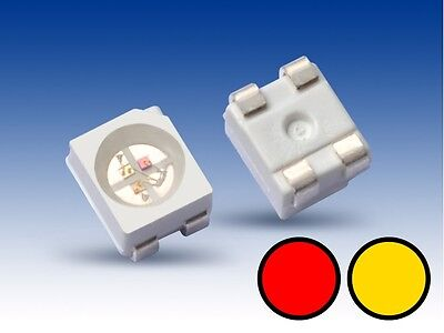 S670 - 20 Stück DUO Bi-Color LED SMD 3528 gelb / rot Lichtwechsel Loks Wendezug