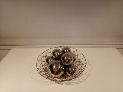 Decorative Chrome Bowl with matching Chrome Balls