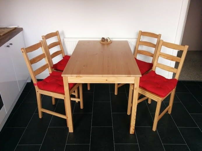 dining set ikea jokkmokk table and chairs great condition with pillows in levenshulme. Black Bedroom Furniture Sets. Home Design Ideas