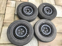 Four VW T5 steel wheels with tyres for sale: £45