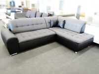 *BRAND NEW MODELS* REAL LEATHER&FABRIC CORNER SOFA-BED WITH STORAGE (FREE DELIVERY)