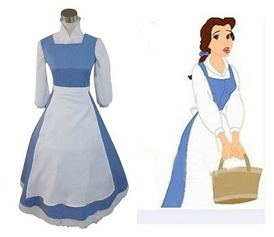 Adult Belle Costume Blue (Adult Princess Belle Costume Beauty and The Beast Blue Maid Fancy Cosplay)