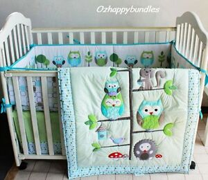 New Baby Girls Boys 7 Pieces Cotton Nursery Bedding Crib Cot Sets-- Owl Family