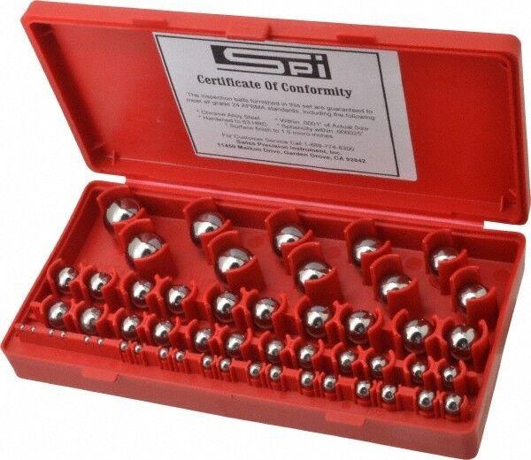 """SPI Chrome Steel Gage Ball Set, 1/8"""" to 1"""" Diameter, 0.0001"""" Tolerance"""