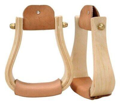 Solid Brass Bound Wooden Stirrups