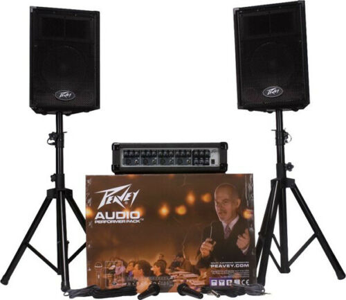 Peavey Audio Performer Pack Complete PA System Powered Mixer, speakers, stands,