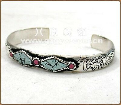 Vintage Long Solid Tibetan Turquoise Red Coral 8 Auspicious Symbol Cuff (Coral Square 8)