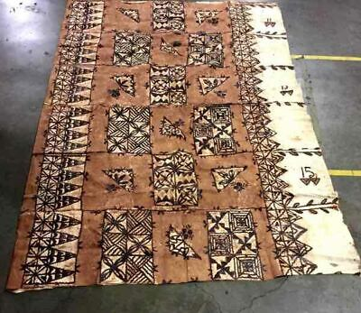Large Vintage Hand Crafted Painted Samoan Tapa Cloth Painting Pacific Art