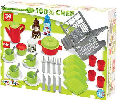 Ecoiffier 39-teiliges Puppengeschirr & Küchenzubehör Geschirr Spielküche Kinder
