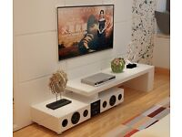 White High Gloss TV Stand with Built-In Bluetooth Speakers for up to 72 inches BNIB
