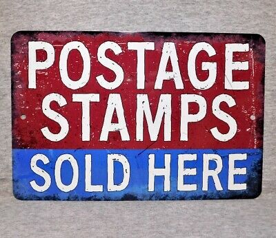 Metal Sign POSTAGE STAMPS post office USPS postal mailman stamp collector mail Stamp Metal Sign