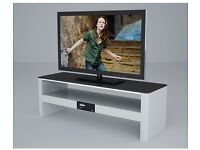 White High Gloss TV Stand with Built-In Bluetooth Speakers & USB Music Player