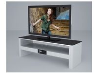 White High Gloss TV Stand with Built-In Bluetooth Speakers & USB Music Player Brand New in Box