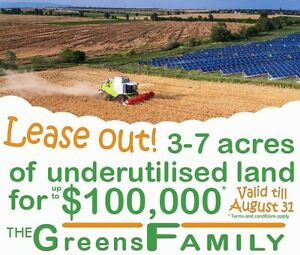 Lease out 3 to 7 acres' land. Limited time*.