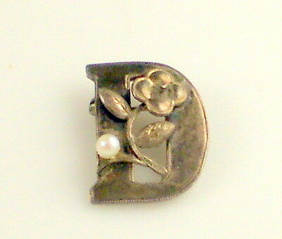 "Estate Vintage Tiny Initial ""D"" Sterling Silver Pearl Flower Brooch Pin"