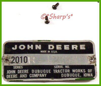 John Deere 2010 Serial Number Tag 1961 Row Crop Serial 12358 Rivets Too