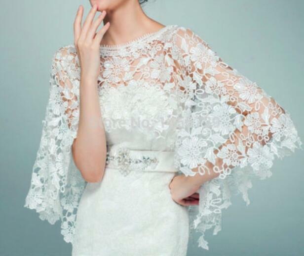Bridal Lace Bolero Cloak White Ivory Jacket Cape High Quality Wedding Shawl