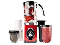 Andrew James Red 4 in 1 Multifunctional 1 Litre Smoothie Maker, 1.5 litre Blender, Grinder & Juicer