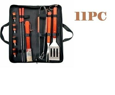 BBQ 11Pc BBQ Tool Set & Bag - Stainless Steel Barbecue Cooking Utensils Prima NW