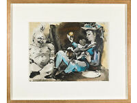PABLO PICASSO - 'La comedie humaine' - original lithograph - c1954 - custom framed (print. picture)