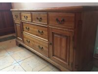 Large Rustic sideboard with keylock cabinets.