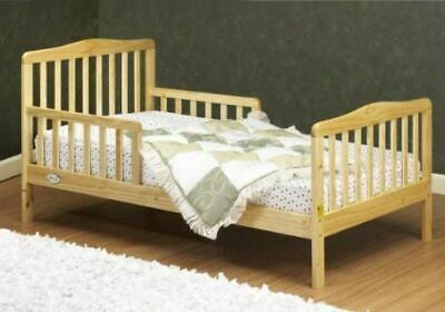 Toddler Bed Wooden Bed Frame Kids Room Furniture Safe Safety Rail Natural (Natural Kids Bedroom Furniture)