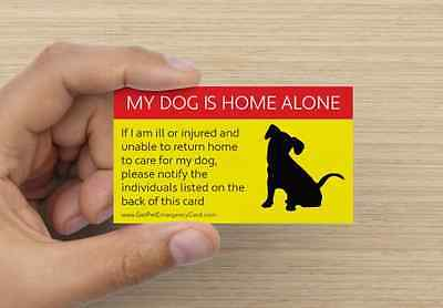1 Pet Emergency Care Card (DOG) | ID Home Alone Wallet Medical Alert First Aid