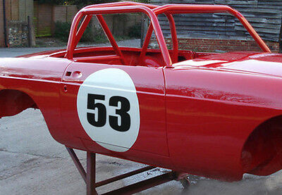 Track Car Roundels + Number Circular Car Door Stickers Vinyl Circle Race Car x3