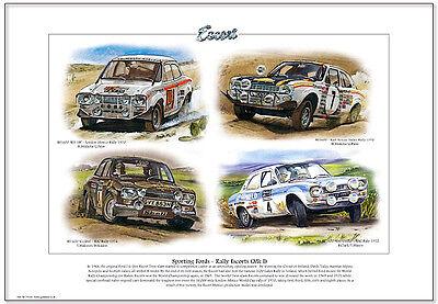 FORD ESCORT Mk1 RALLY CARS - Fine Art Print A3 size - RAC Mikkola Makinen RS1600