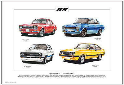 FORD ESCORT RS ( MkI & MkII) - Fine Art Print A3 Size - Mexico RS2000 RS1800