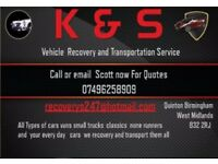 K&S RECOVERY AND VEHICLE TRANSPORTING SERVICES PLEASE CALL NOW FOR FREE QUOTES