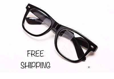 Clear Lens Black Frames Glasses Designer Fashion Nerd Geek Mens Women's (Geek Designer Glasses)