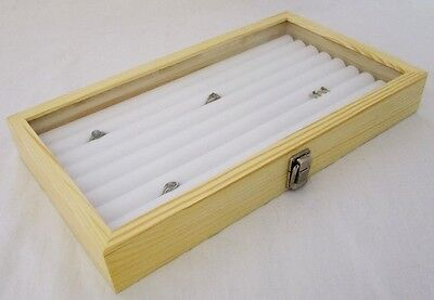 8 Row Tufted Ring Case Glass Top Natural Wood For 100 Rings White