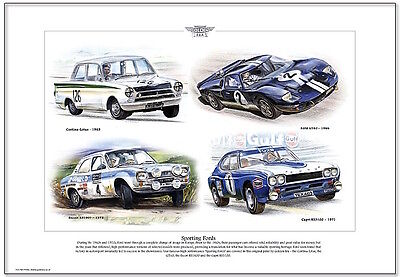 SPORTING FORDS  Fine Art Print A3 size - Lotus Cortina RS1600 RS3100 GT40 models