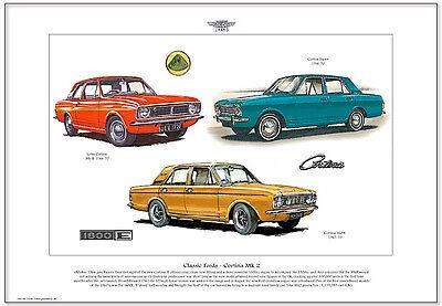 FORD CORTINA MK2 - Fine Art Print - A3 size - 1600E Lotus Cortina & Super models