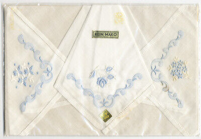 1950s Blue Floral Shadow Embroidery Hemstitch 3 Hankie set hand embroidered