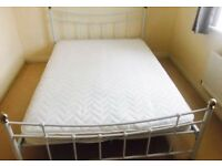 White Double Metal Bedframe and Matress