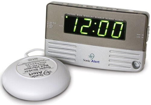 Sonic Alert White Travel Shaking Vibrating Alarm Clock SB200