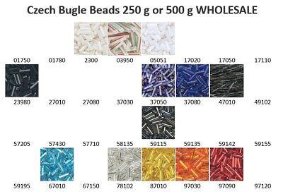 Tube Czech Glass Beads - Czech Glass Tube Bugle Seed Beads 250 or 500 gram (1/4 or 1/2 kilo) WHOLESALE